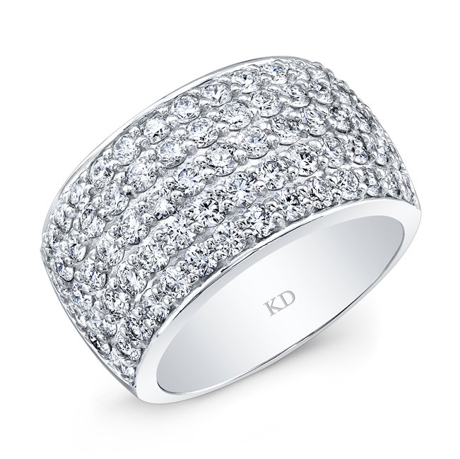 WHITE GOLD INSPIRED TRENDY MULTI ROWS DIAMOND BAND