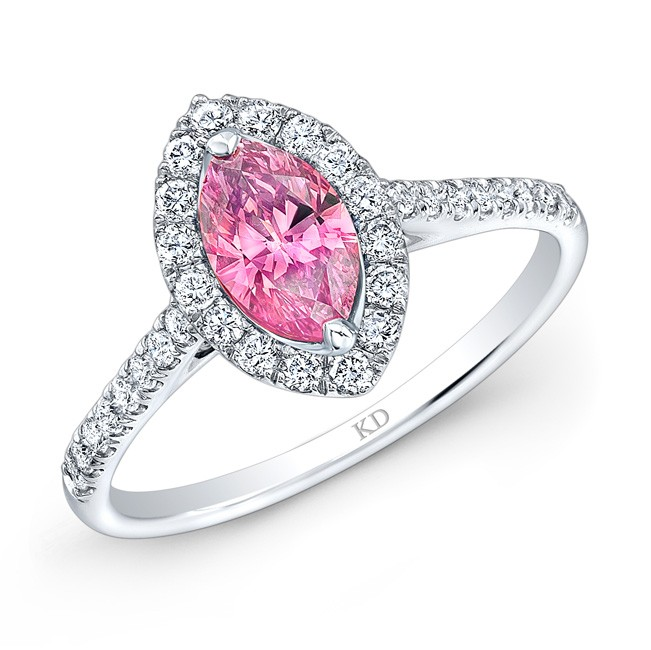 WHITE GOLD CLASSIC PINK ENHANCED MARQUISE DIAMOND RING