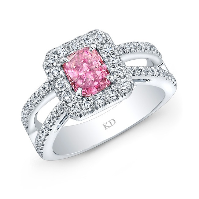 WHITE GOLD PINK ENHANCED CUSHION DIAMOND HALO RING