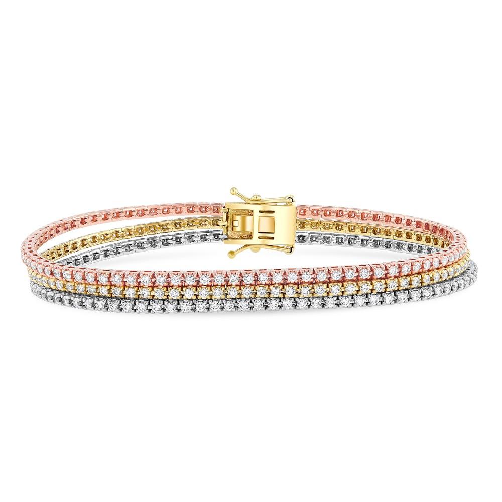 WHITE & YELLOW & ROSE GOLD INSPIRED FASHION THREE TONE DIAMOND BRACELET