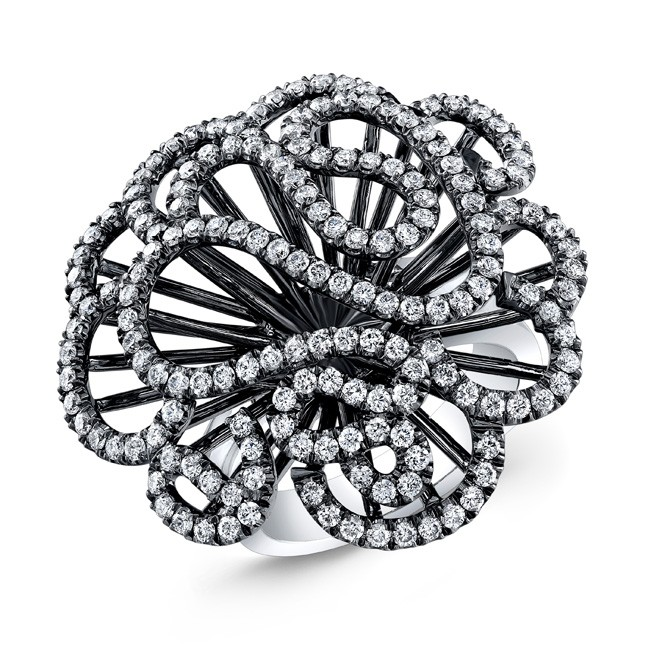 WHITE GOLD INSPIRED SWIRLED FLOWER  DIAMOND RING