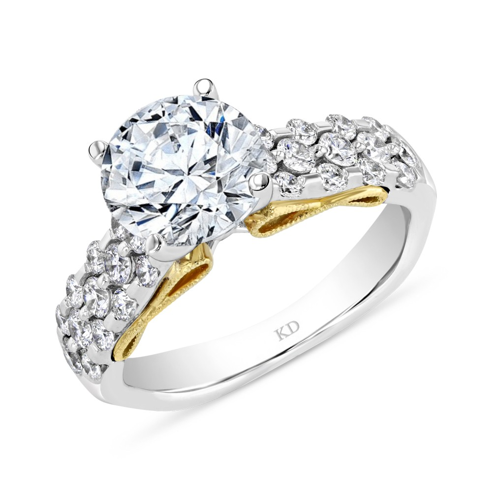WHITE YELLOW GOLD INSPIRED DAZZLING DIAMOND ENGAGEMENT RING