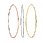 WHITE & ROSE & YELLOW GOLD THREE FLEXIBLE DIAMOND BANGLES