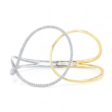 WHITE AND YELLOW GOLD CONTEMPORARY DIAMOND BANGLE