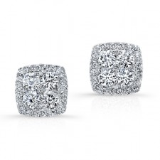 WHITE GOLD CONTEMPORARY HALO CLUSTER DIAMOND EARRINGS