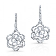 WHITE GOLD FASHION FLOWER DIAMOND DANGLE EARRINGS
