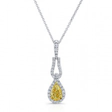 WHITE AND YELLOW GOLD TEAR DROP FANCY YELLOW DIAMOND PENDANT