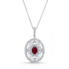 NATURAL COLOR WHITE GOLD VINTAGE RUBY DIAMOND PENDANT
