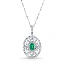 NATURAL COLOR WHITE GOLD VINTAGE EMERALD FLOWER DIAMOND PENDANT