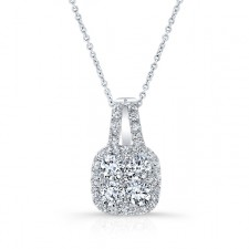 WHITE GOLD DAZZLING DIAMOND CLUSTER PENDANT