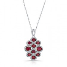 NATURAL COLOR WHITE GOLD INSPIRED RUBY FLOWER DIAMOND PENDANT