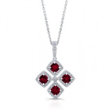 WHITE GOLD NATURAL COLOR INSPIRED RUBY FLOWER DIAMOND PENDANT