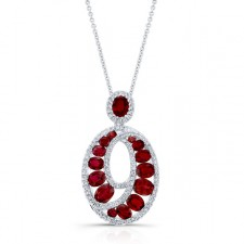 NATURAL COLOR WHITE GOLD RUBY SWIRLED DIAMOND PENDANT