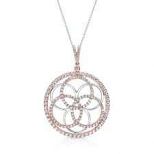 WHITE & ROSE GOLD CONTEMPORARY CIRCLE IN CIRCLE DIAMOND PENDANT