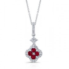 WHITE GOLD NATURAL COLOR FASHION RUBY DIAMOND FLOWER PENDANT
