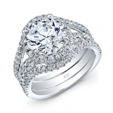 WHITE GOLD CONTEMPORARY HALO DIAMOND ENGAGEMENT RING
