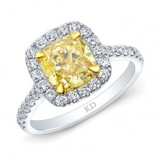 WHITE AND YELLOW GOLD FANCY YELLOW CUSHION DIAMOND HALO ENGAGEMENT RING