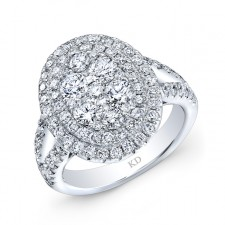 WHITE GOLD SPLIT SHANK INSPIRED FASHION DIAMOND RING