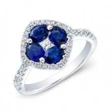 WHITE GOLD NATURAL COLOR TRENDY SAPPHIRE FLOWER DIAMOND RING