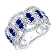 NATURAL COLOR WHITE GOLD FASHION SAPPHIRE DIAMOND RING