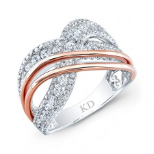 WHITE &ROSE GOLD CONTEMPORARY CRISS CROSS DIAMOND RING