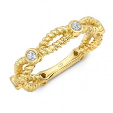 YELLOW GOLD INSPIRED TWISTED DIAMOND FASHION BAND