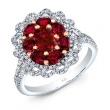 NATURAL COLOR WHITE & ROSE GOLD RUBY FLOWER DIAMOND RING