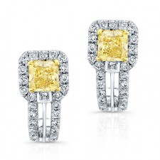 WHITE AND YELLOW GOLD FANCY YELLOW RADIANT DIAMOND EARRINGS