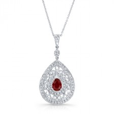 NATURAL COLOR WHITE GOLD VINTAGE TEAR DROP RUBY DIAMOND PENDANT