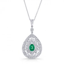 NATURAL COLOR WHITE GOLD VINTAGE TEAR DROP EMERALD DIAMOND PENDANT