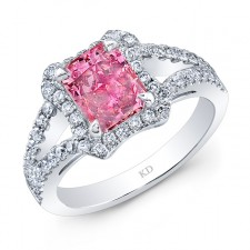 WHITE GOLD PINK ENHANCED RADIANT DIAMOND BRIDAL RING