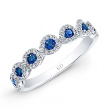 NATURAL COLOR WHITE GOLD INSPIRED  SAPPHIRE TWISTED DIAMOND BAND