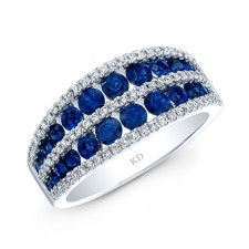 NATURAL COLOR WHITE GOLD TRENDY SAPPHIRE DIAMOND BAND