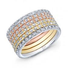 WHITE & ROSE & YELLOW GOLD DAZZLING DIAMOND FASHION MULTI BAND