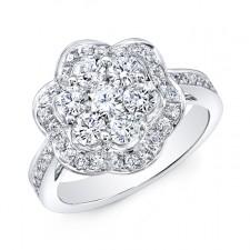 WHITE GOLD INSPIRED VINTAGE FLOWER DIAMOND RING