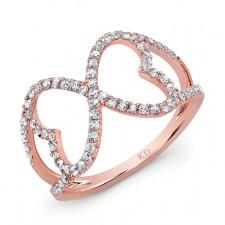 ROSE GOLD INSPIRED TRENDY HEART DIAMOND RING