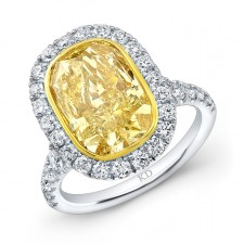 WHITE AND YELLOW GOLD FANCY YELLOW DIAMOND HALO BRIDAL RING