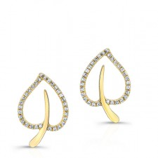 YELLOW GOLD TRENDY DIAMOND EARRINGS