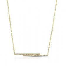 YELLOW GOLD FASHION BAR DIAMOND PENDANT