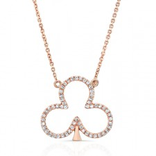 ROSE GOLD CLOVER LEAF DIAMOND PENDANT