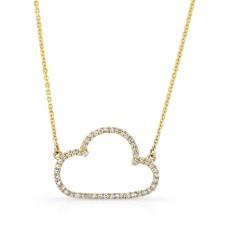 YELLOW GOLD TRENDY CLOUD DIAMOND PENDANT