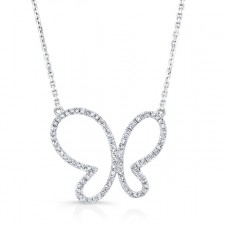 WHITE GOLD ELEGANT BUTTERFLY DIAMOND PENDANT