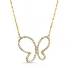 YELLOW GOLD ELEGANT BUTTERFLY DIAMOND PENDANT