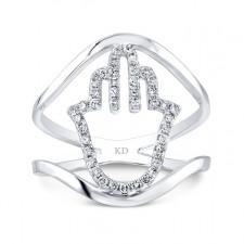 WHITE GOLD STYLISH HAMSA DIAMOND RING