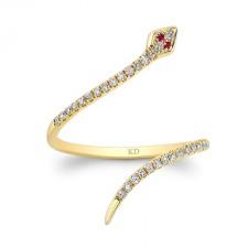 YELLOW GOLD CLEOPATRA SNAKE FASHION DIAMOND RING