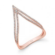 ROSE GOLD STYLISH CURVED DOUBLE V DIAMOND RING