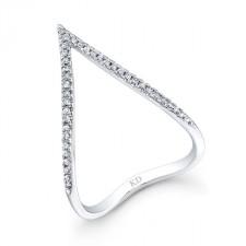 WHITE GOLD STYLISH CURVED V DIAMOND RING