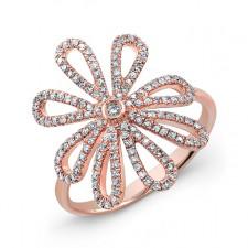 ROSE GOLD STYLISH FLOWER DIAMOND RING