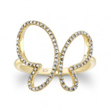 YELLOW GOLD INSPIRED BUTTERFLY DIAMOND RING