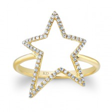 YELLOW GOLD INSPIRED STAR DIAMOND RING